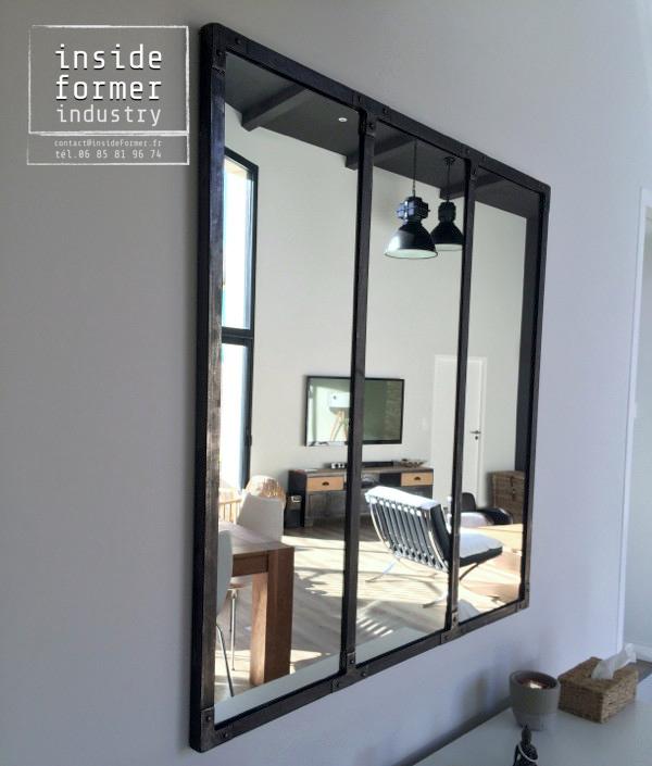 Objets d coration style industriel sur mesure nantes objets d co design acier et bois loft - Miroir maison du monde industriel ...