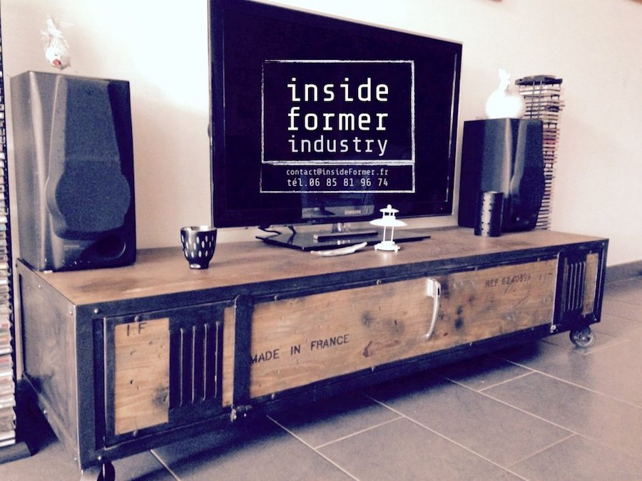meuble tv style industriel pas cher meuble tv bas en bois avec abattant et niches prism. Black Bedroom Furniture Sets. Home Design Ideas
