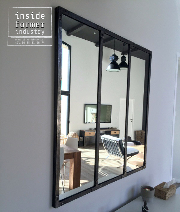 Miroir style industriel maison design for Miroir industriel